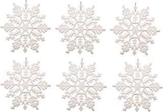 Sea star white plastic Snowflake Ornaments 24pcs 3inch tiny Sparkling white Iridescent Glitter Snowflake Ornaments on String Hanger for Decorating, Crafting and Embellishing (3inch, White)