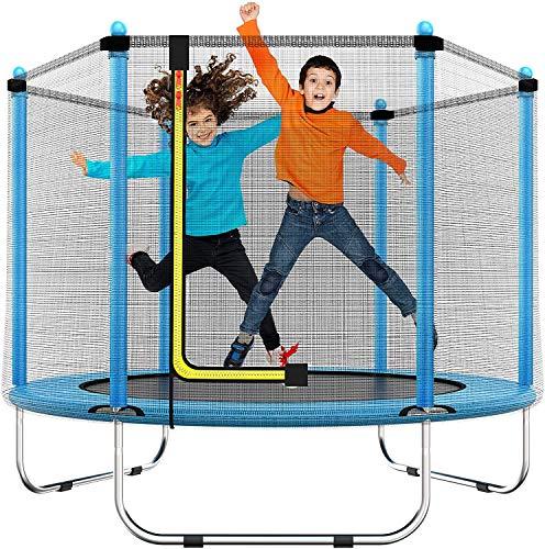 Cama elástica de 150 cm para niños de 150 cm, para Interior o Exterior, con Equipo de Seguridad, Regalos para niños y niñas, Juguetes para bebés, niños y niñas, Edad 1 – 8 años