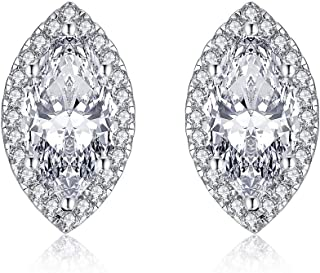 Sterling Silver CZ Cubic Zirconia Stud Earrings Marquise Shape Halo Hypoallergenic Earrings for Women CZ 2ct