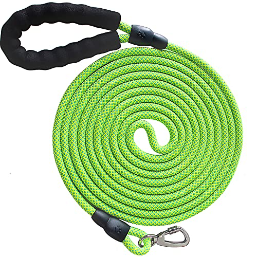 Pezakf Dog Leash, Long Dogs Training Leashes with Soft Padded Handle Reflective Threads Lockable Clasp Heavy Duty Lead Leash for Large Medium Small Pets Dogs Cats ( 15FT, 3 8 inch, Green)