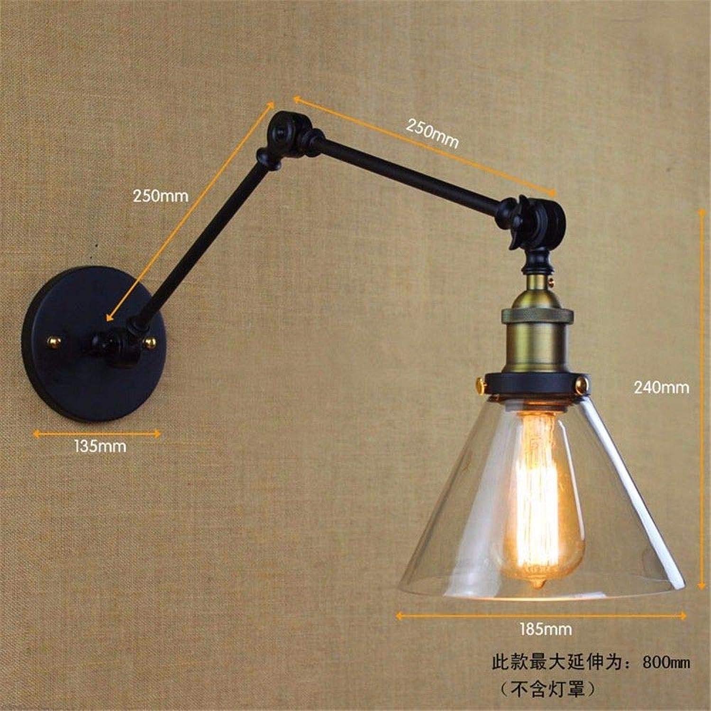 T-ZBDZ Eisen langen Arm Glas Wand Lampe, Wohnzimmer Schlafzimmer Schlafzimmer Treppenhaus Nachttischlampe
