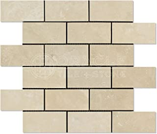 Ivory (Light) Travertine 2 X 4 Brick Mosaic Tile, Filled & Honed