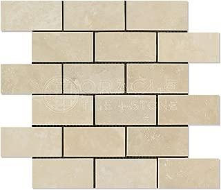 Ivory (Light) Travertine 2 X 4 Brick Mosaic Tile, Filled & Honed