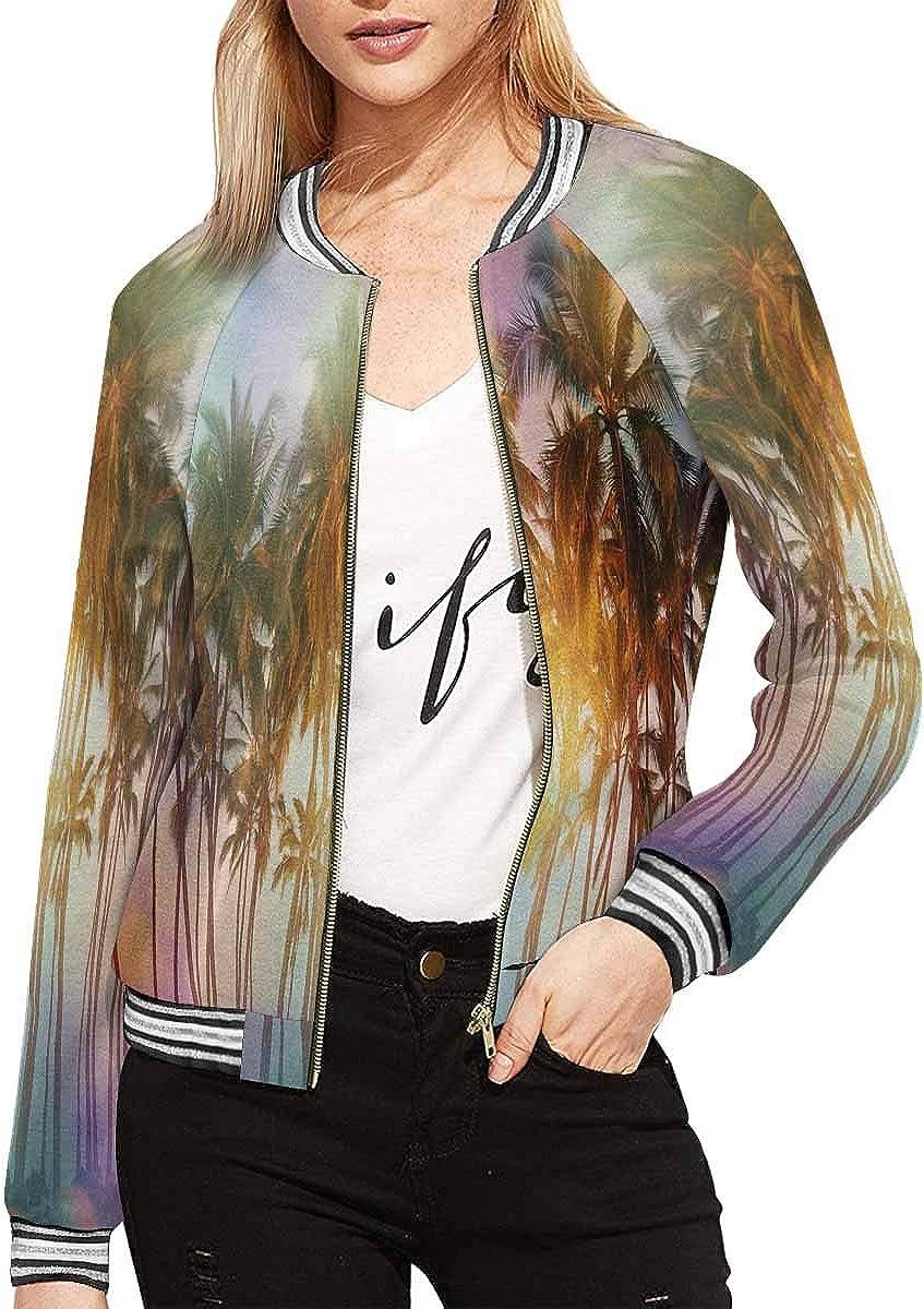 InterestPrint Women's Round Frame with Orchids and Butterflies Jacket Zipper Coat Outwear