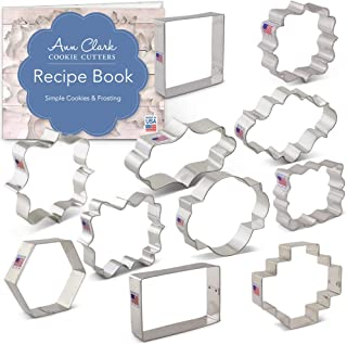 Ann Clark Cookie Cutters 11-Piece Plaques, Frames and Tiles Cookie Cutter Set with Recipe Booklet