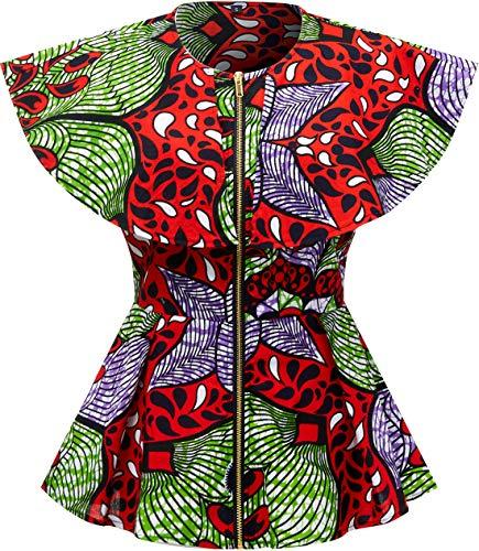 Shenbolen Women African Print Top Ankara Dashiki Shirt (X-Large, D)