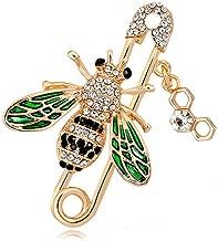 GYAYU Brooch pins Women Enamel Crystal Bees Insect Pin Lapel Pin Large Safety Pin