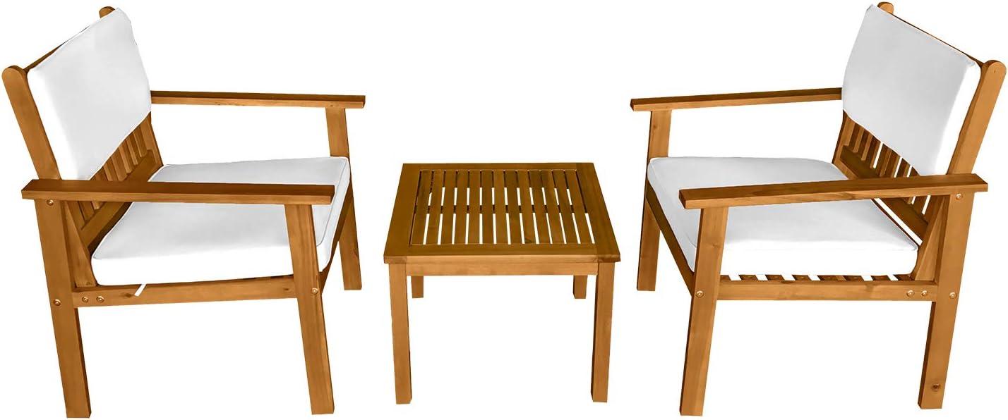 3-Piece Acacia Wood Patio Bistro Set El Dedication Paso Mall Furniture Outdoor Cha