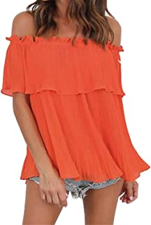 SZIVYSHI Half Sleeve Off The Shoulder Pleated Ruffled Ruffle Hem Swing Trapeze Smock Blouse Shirt Top