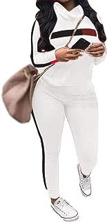 Women's 2 Piece Outfits - Stripe Patchwork Sweatsuits Long Short Sleeve Pullover Sweatshirt Skinny Pants Tracksuit Set