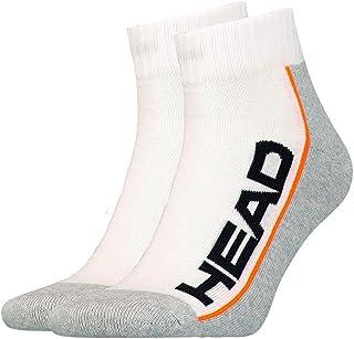 Head, Stripe Quarter - Calcetines deportivos (2 unidades, talla 43-46), color blanco y gris claro