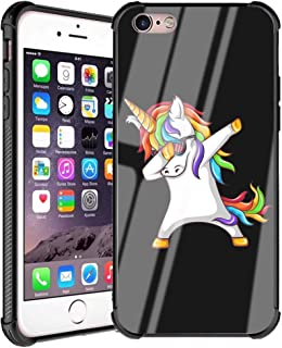 iPhone 6s Plus Case,iPhone 6 Plus Case with Cute Cartoon Design Funny Pattern Shockproof Tempered Glass Mirror Bumper Cover Case for iPhone 6 Plus/iPhone 6s Plus - Rock Rainbow Unicorn