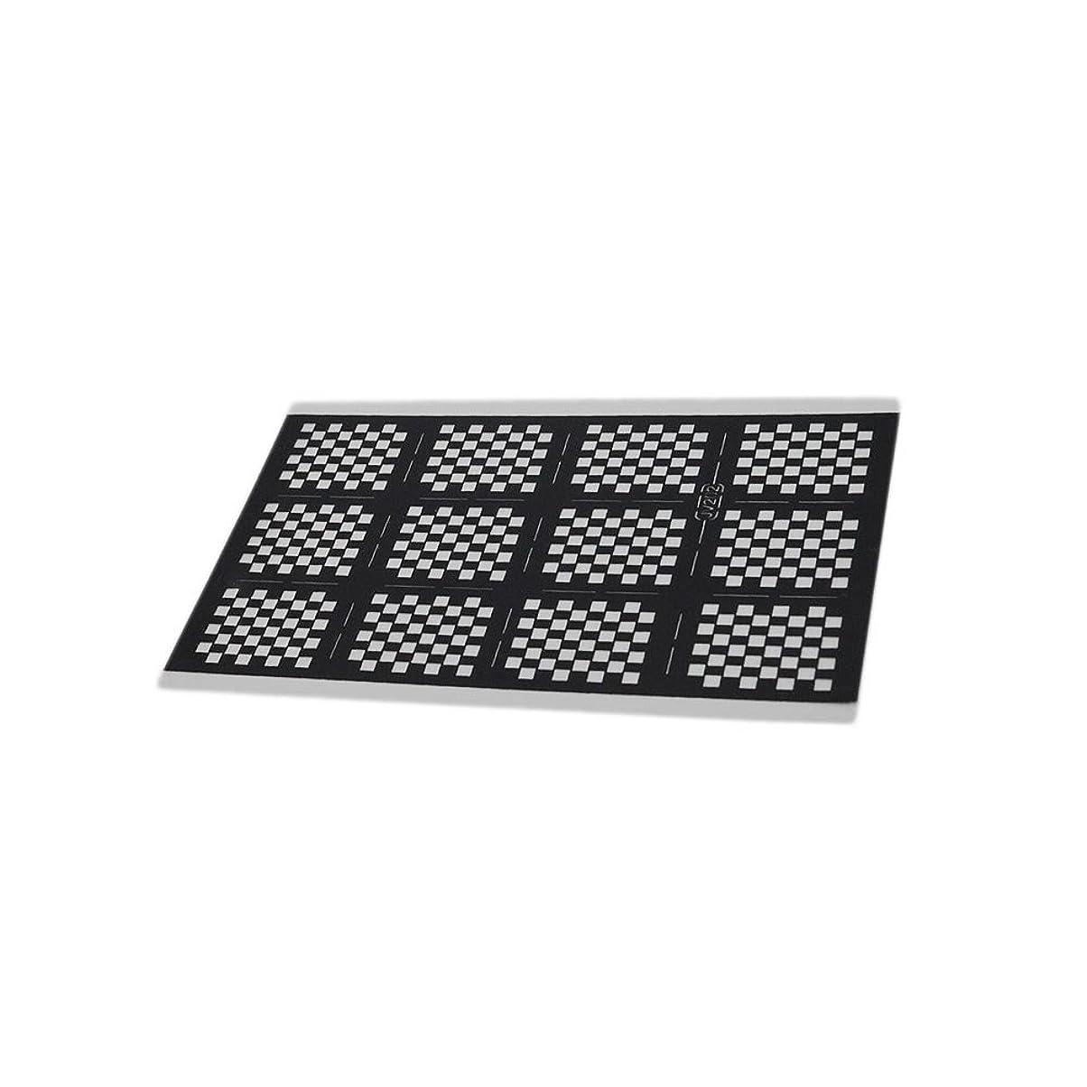 Nina ネイルステッカー 【12.5cm×7.5cm ブラック ブロックチェック 2枚セット】市松模様 ネイルシール テープ デコパーツ クラフト素材