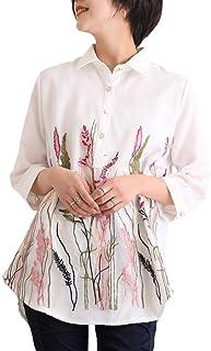 [サワ アラモード] ナチュラル ボタニカル 刺繍 シャツ トップス レディース ファッション トップス 7分袖 テールカット