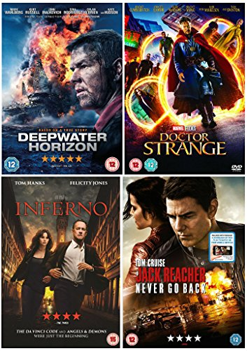New Action Movie Collection : Deepwater Horizon / Marvel's Doctor Strange / Inferno / Jack Reacher: Never Go Back + Special Features