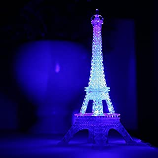 Colorful Eiffel Tower Nightlight Desk Bedroom Decoration LED Lamp Paris Fashion Style Acrylic Birthday Gift (White)