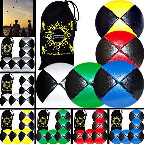 Flames N Games® Thud Pro Jonglierbälle 5er Set - Profi Beanbag Bälle (LEDER) + Reisetasche! Komplett-Set Ideal Für Anfänger und Auch Für Profis! (Multicolour)