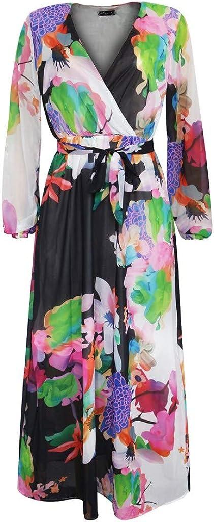 Womens Gown Dresses Low-Cut V-Neck Watercolor Gradient Floral Long Sleeve Maxi Dress Plus Size Floor Length S-5XL