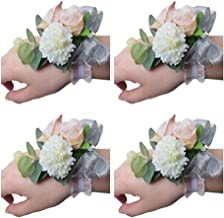 Flonding Girl Bridesmaid Wedding Wrist Corsage Bride Wrist Flower Corsages Stretch Bracelet Wristband for Wedding Prom Party Homecoming Hand Flowers Decor Pack od 4