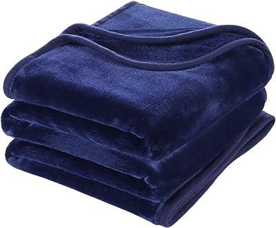 MEROUS 毛布 ダブル あったかい 厚手 ふんわり ブランケット 掛け毛布 マイクロファイバー ポリエステル100% 静電気防止 軽量 フランネル 洗える 抗菌・防臭・防ダニ ネイビー 180*200
