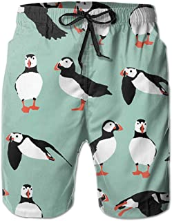 Penguin Mint Green Men Swim Trunks Drawstring Elastic Waist Surfing Beach Board Shorts