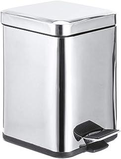 GOODS+GADGETS Poubelle de salle de bain en acier inoxydable - Seau à pédale de 6 litres avec couvercle et pédale antidérap...
