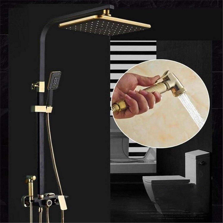 FuweiEncore Schwarz Dusche Set Voller Kupfer Hei und Kalt Dusche Pistole Wasserhahn Düse Druckregelung Einstellbare Lift mit Halterung (Farbe   -, Gre   -)