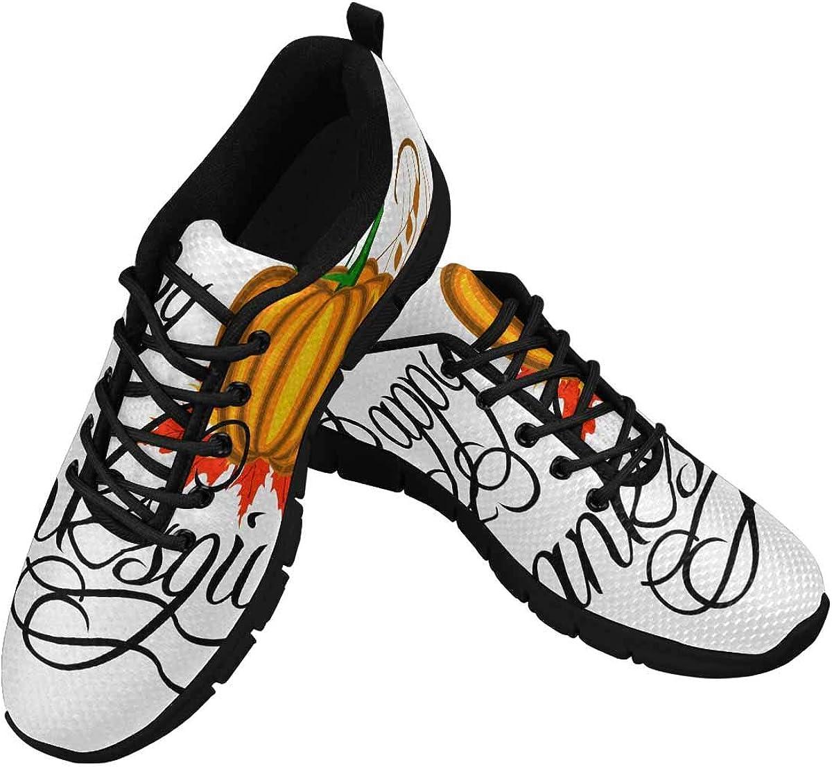 INTERESTPRINT Happy Thanksgiving Pumpkins Women's Athletic Walking Shoes Comfort Mesh Non Slip