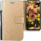 CLM-Tech Hülle kompatibel mit Samsung Galaxy A8s - Tasche aus Kunstleder - Klapphülle mit Ständer & Kartenfächern, Schmetterlinge Gold