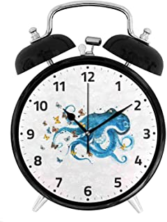 22yiihannz Blue Octopus with Butterflies Alarm Clock,Silent Non Ticking Oil Painting Decorative for Home Office School Clock- Vintage Double Bell Design - 3.8 inch