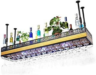 Organisation de Rangement de Cuisine Plafond en Bois Massif Suspendu casier à vin monté au néon lumière Verre à vin en mét...
