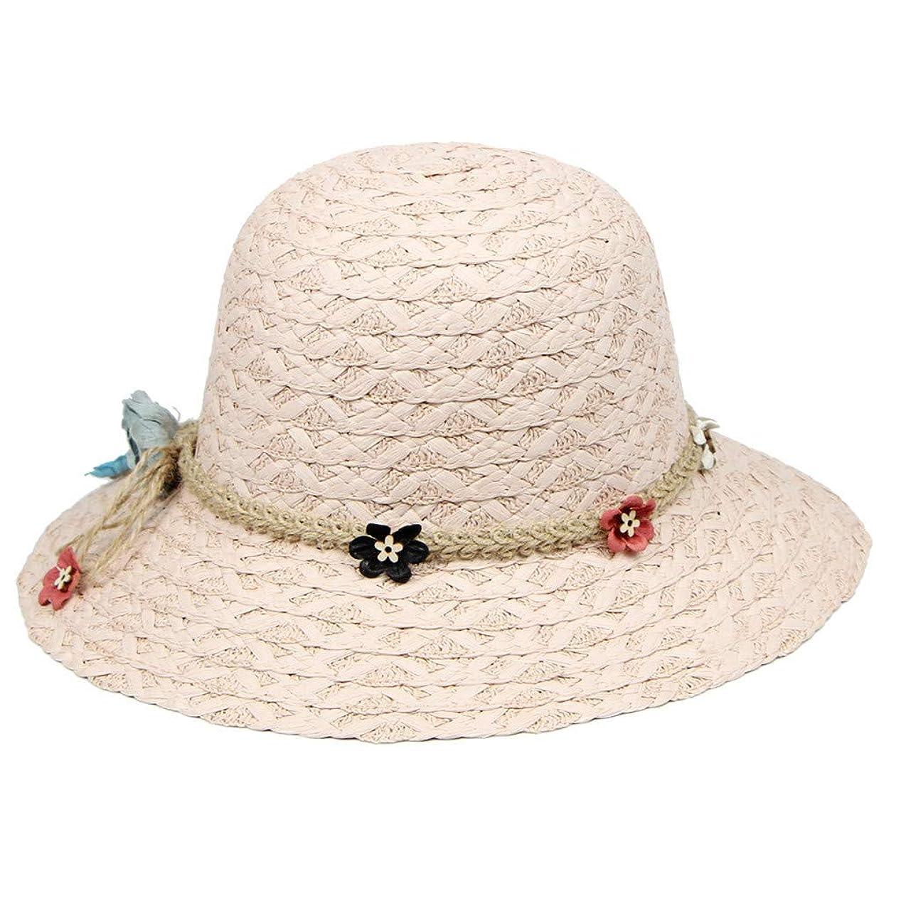 割合あいまいレディース 夏 ハット UVカット 帽子 レディース ビーチ 海辺 森ガール 女優帽 日よけ 紫外線対策 日焼け防止 旅行用 日よけ 夏季 小顔効果抜群 レース 麻ロープ 小さな花 つば広 可愛い ハット 発送 ROSE ROMAN
