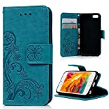 Mavis's Diary iPhone 5/5S/SE Druken Happy Bunge Bedstraw Herb Phone Case Cover Stand PU Leather Case Protective Cover Scratch MAGNETIC CLOSURE Phone Case Cover Solide Blau