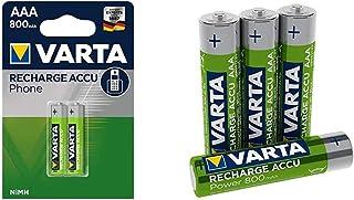 Varta Micro AAA Akku für DECT Telefone 800mAh 2er Blister, 1,2V, NiMH & Rechargeable Accu Ready2Use vorgeladener AAA Micro NI Mh Akku (4er Pack, 800mAh), wiederaufladbar ohne Memory Effekt