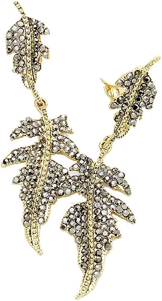 Art Deco Gray Rhinestone & Goldtone Leaf Clip On/Pierced Earrings 3.25 in