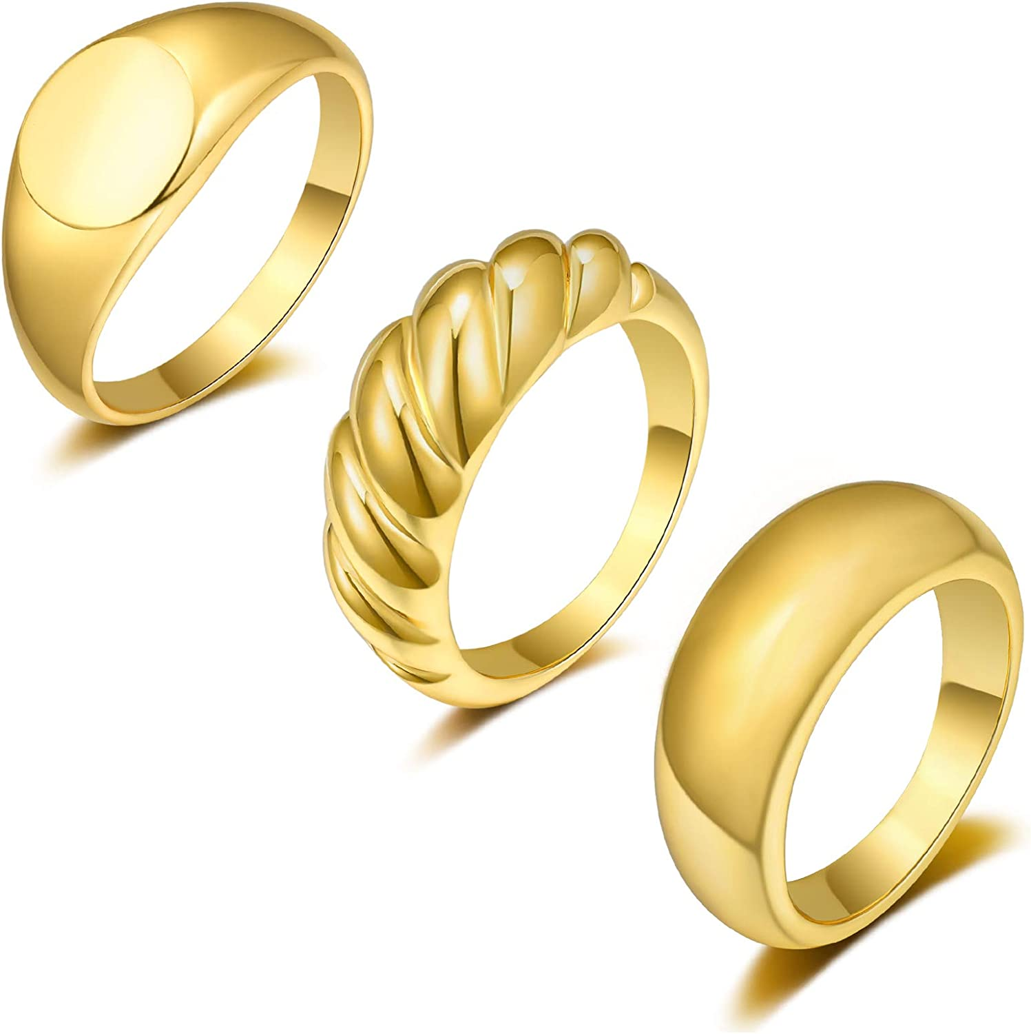 Sunssy 3-6PCS Dome Chunky Rings Thick Gold Rings for Women Girls Round Signet Rings Braided Twisted Signet Ring Jewelry Minimalist Statement Ring Size 5-9