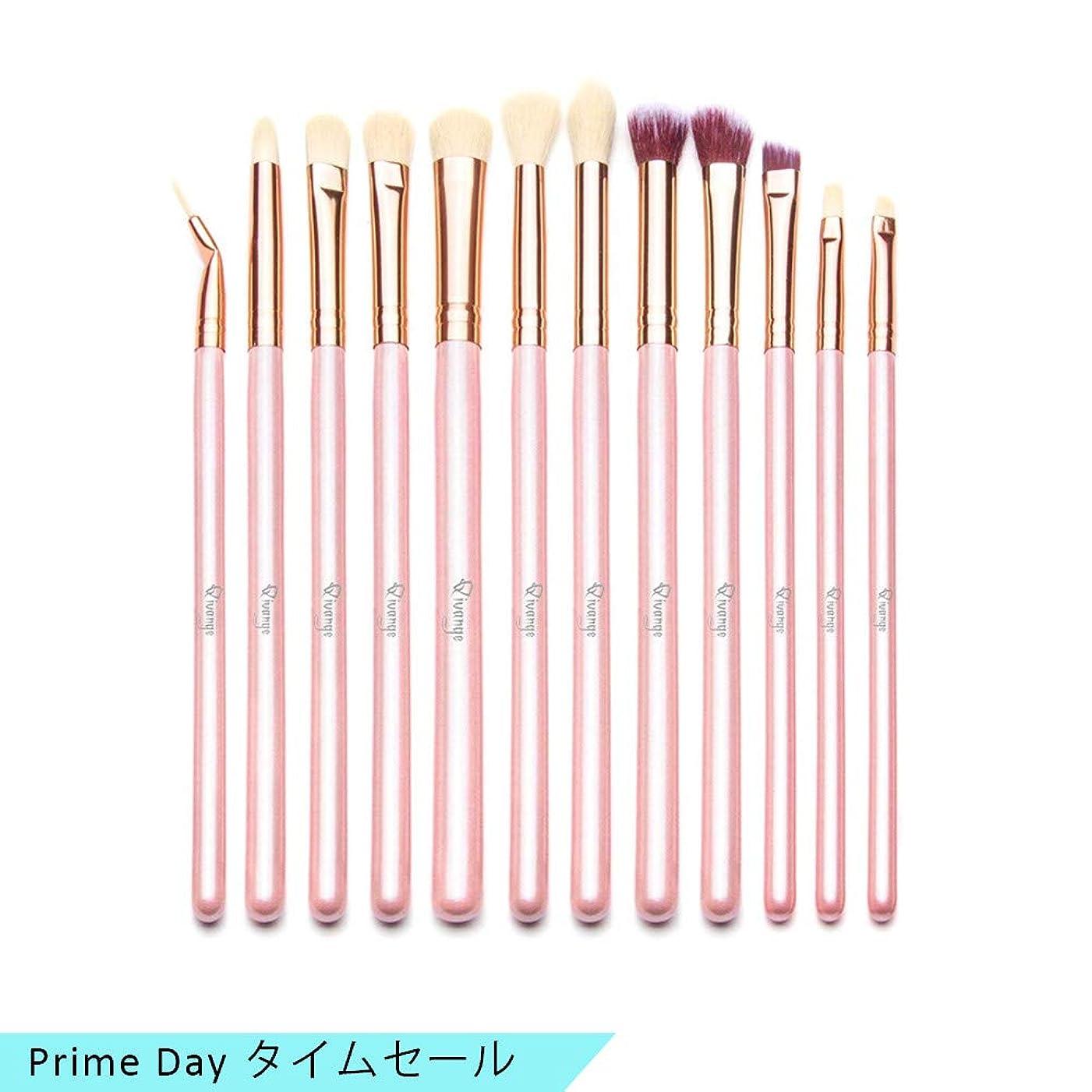 成功する王女チョップQivangeアイシャドウブラシ 12本セット 可愛いメイクブラシ 手柄キラキラ 化粧筆 化粧ポーチ付き 旅行に便利(ピンク) …