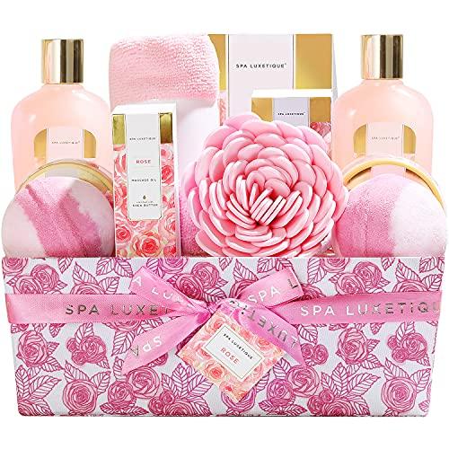 Geschenk für die Tochter, SPA LUXETIQUE 12 tlg. Bad Set Spa Set Rosenduft Geburtstagsgeschenk - Massageöl, Badesalz, Badebomben, Duschkappe in der Geschenkbox Geschenke für liebe Mutti