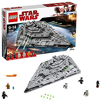 Construisez le Star Destroyer du Premier Ordre Comprend 5 figurines : Le leader suprême Snoke, un officier du Premier Ordre, un sergent Stormtrooper du Premier Ordre, un Stormtrooper du Premier Ordre et un pilote de la navette du Premier Ordre, ainsi...