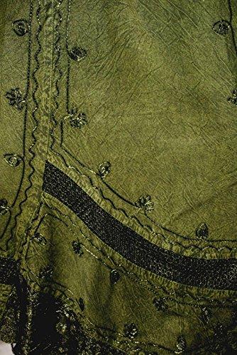 Dark Dreams Gothic Mittelalter Ethno Wicca Pagan Rock Skirt Hydra oliv grün 34 36 38 40, Farbe:weinrot - 3