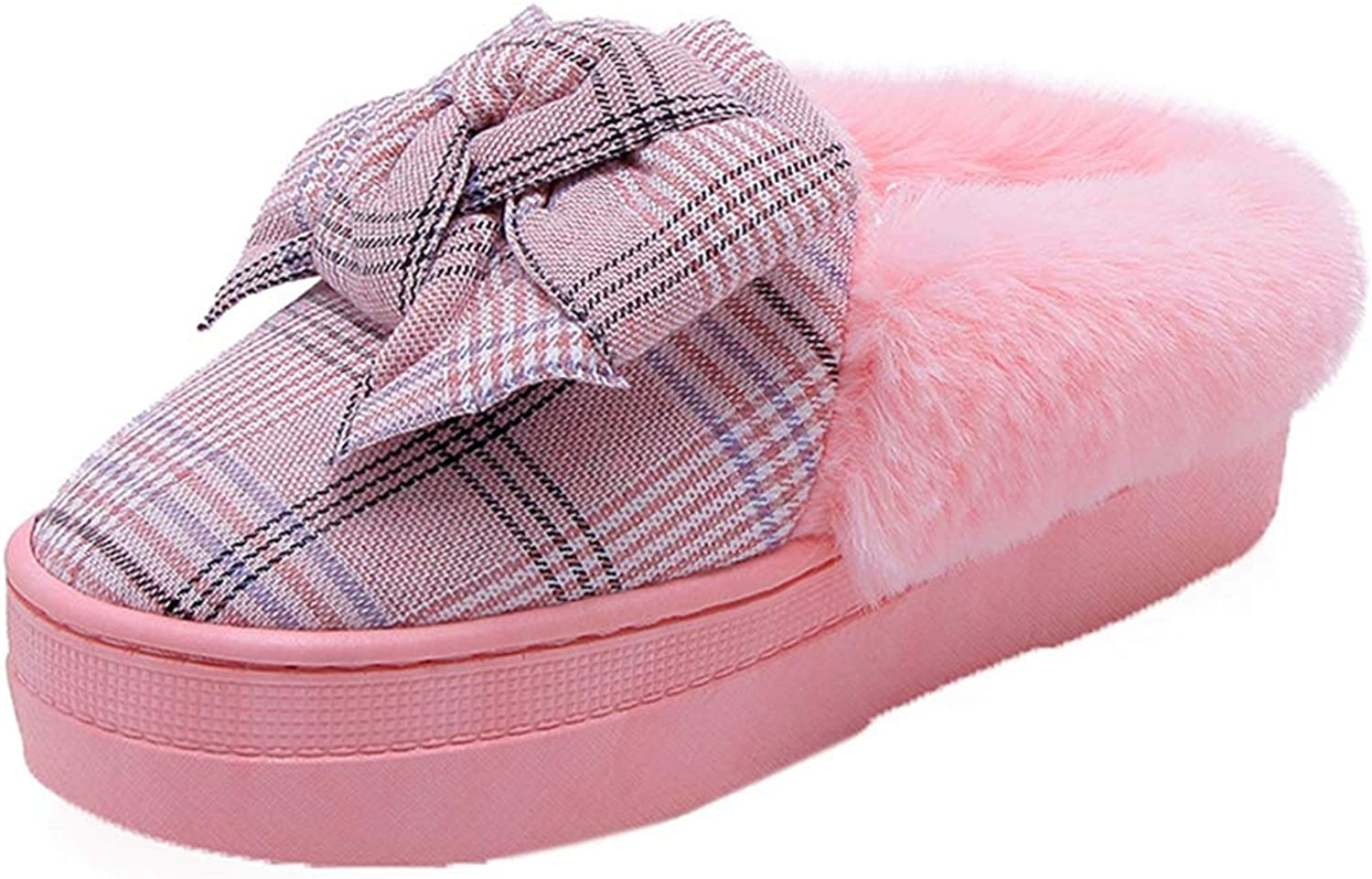 Fashion Plaid Bow Warm Winter Slippers Women Thick Platform shoes Soft Furry Indoor House Home Slippers
