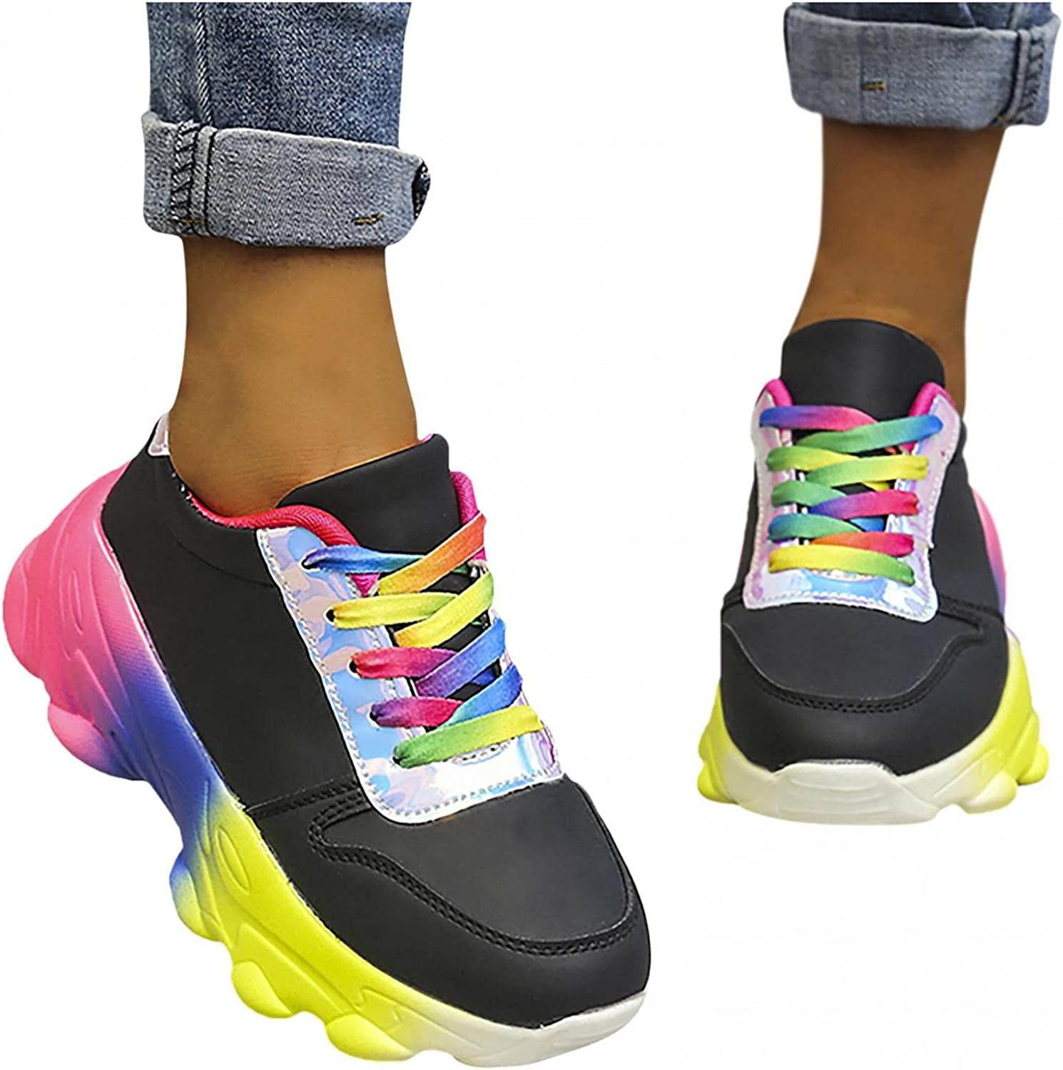 Hbeylia Platform Fashion Sneakers For Women Casual Gradient Colorful Lace Up Chunky Bottom Heels Low Top Walking Shoes Lightweight Comfort Athletic Running Hiking Tennis Skateboard Sport Sneakers