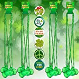 【WORTHY ST.PATRICK ACCESSORIES BUNDLE FOR ST.PATRICKS DAY COSTUMES】You will receive 12pcs green St Patrick's day beads necklace with shot glass hanging from each one & 6pcs st.patrick pin, buy more save more,perfect for Mardi Gras party St Patrick's ...