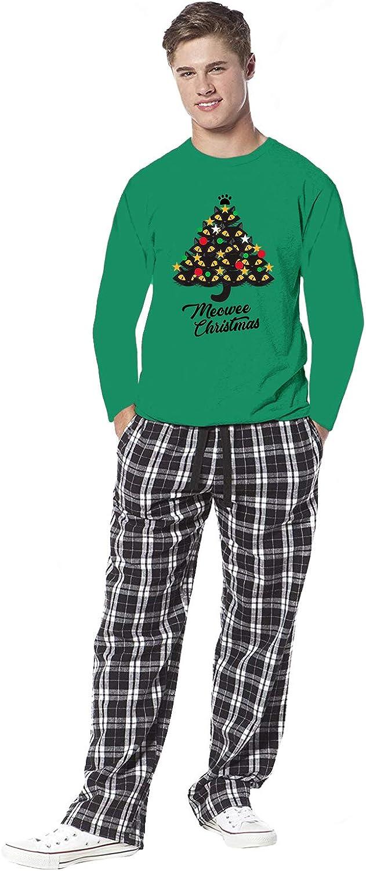 Awkward Styles Family Christmas Pajamas for Men Xmas Tree Meowee Sleepwear Mens Pajama Sets