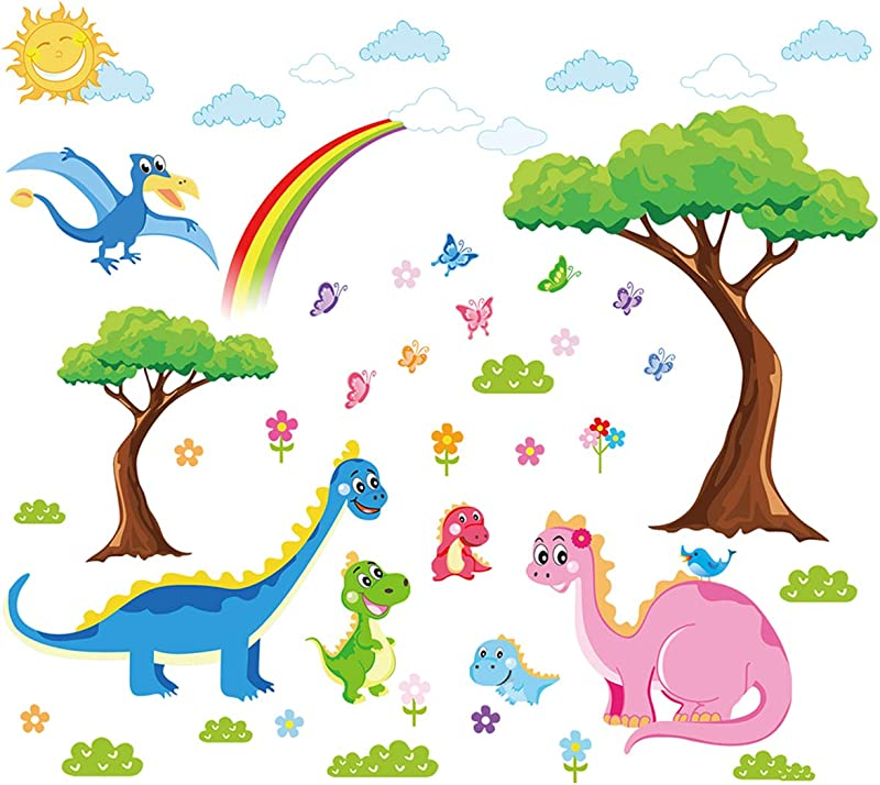 Ufengke Dinosaurs Family Wall Stickers For Kids Tree Removable Wall Art Decals For Nursery Bedroom