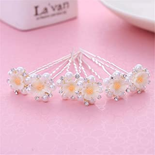 LUKEEXIN Bridal Hair Accessories 10pcs Floral Wedding Wedding Jewelry Hairpin Top Wedding Dress Accessories (Color : White)