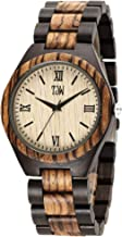 TJW Mens Wooden Watches Analog Quartz Handmade Casual Wood Wrist Watch for Men 6006
