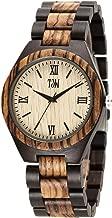 TJW Mens Natural Wooden Watches Analog Quartz Handmade Casual Wrist Watch 6006