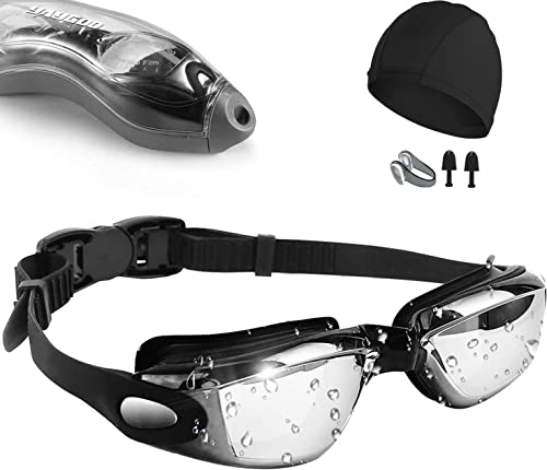 Swim Goggles,[Anti Fog/UV Resistant] Wide Clear Vision Swimming Goggles for adults Men Women,Bright Color Plated Swim...