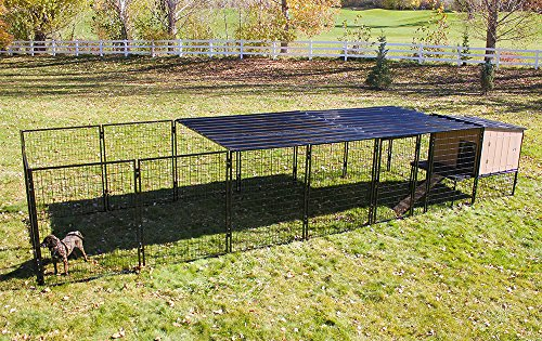 4' X 4' K9 Kennel Castle House with 8' X 24' Run with Metal Cover-Basic